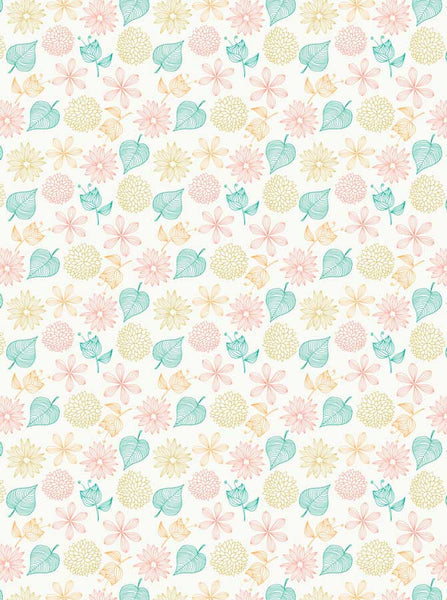 Summer Illustration Leaves Printed Backdrop - 6770 - Backdrop Outlet