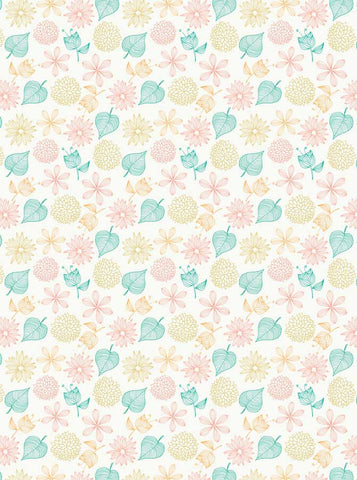 6770 Summer Illustration Leaves Printed Backdrop - Backdrop Outlet