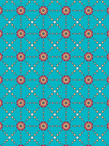 6771 Teal and Pink Ethnic Tribal Illustration Printed Backdrop - Backdrop Outlet