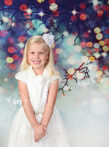 Printed Mistletoe Bokeh Christmas Holiday Backdrop - 6774