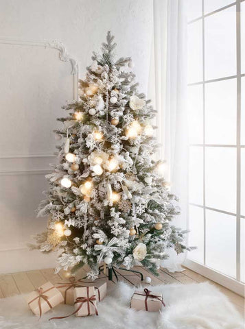 6775 White Christmas Tree Printed Backdrop - Backdrop Outlet