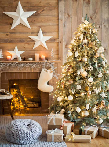 6776 Wood Cabin Christmas Tree Printed Backdrop - Backdrop Outlet