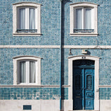 6796 Vera Cruz Window Door Background Ocean Blue Building Printed Backdrop - Backdrop Outlet