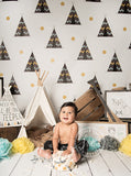 Teepee Children Pattern Yellow Polka Dot Printed Backdrop - 6844 - Backdrop Outlet