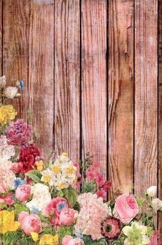 7193 Wood With Flowers Backdrop - Backdrop Outlet