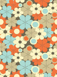 Orange and Teal Flowers Photo Backdrop - 7600 - Backdrop Outlet