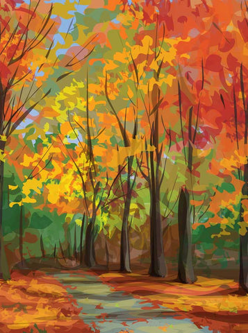 Colorful Autumn Park Path Backdrop - 7661 - Backdrop Outlet