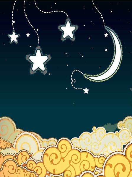 7680 Whimsical Moon and Stars Backdrop - Backdrop Outlet