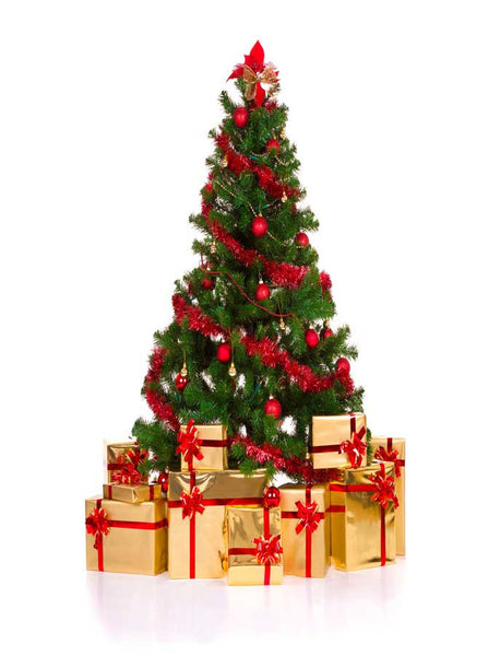 Christmas Tree White Backdrop - 7687 - Backdrop Outlet