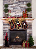 7690 Fireplace Stockings Christmas Backdrop - Backdrop Outlet