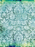 7763 Damask Aqua Blue Green Backdrop - Backdrop Outlet