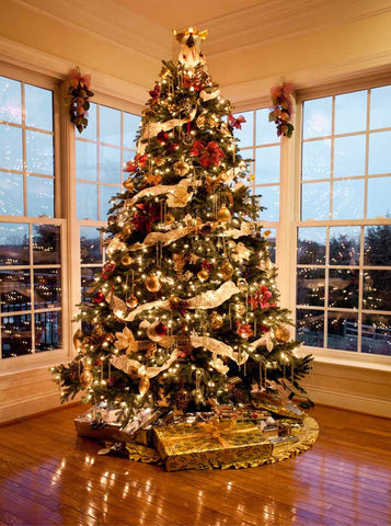 Christmas Tree Large Windows Backdrop - 7817 - Backdrop Outlet