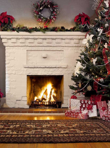 7819 White Fireplace Christmas Backdrop - Backdrop Outlet