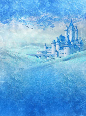 Blue Frozen Castle Backdrop FairyTale background - 8052 - Backdrop Outlet