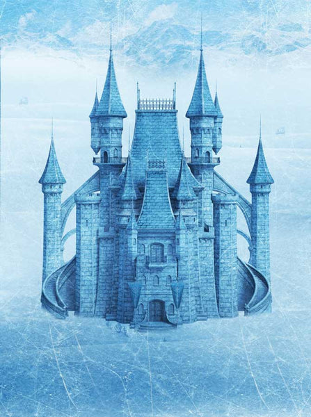 8053 Blue Frozen Large Ice Castle Backdrop - Backdrop Outlet