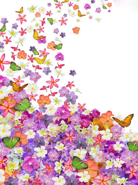 Flowers and Butterflies Backdrop - 8144 - Backdrop Outlet