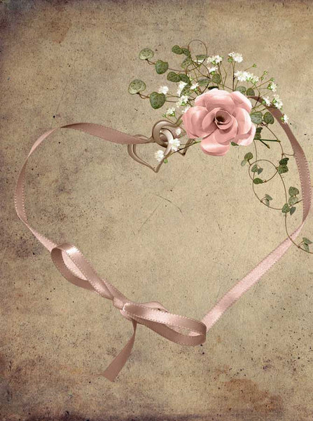 Pink Ribbon Heart Tan Backdrop - 879 - Backdrop Outlet