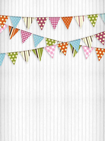 White Wood Banner Flags Backdrop - 9074 - Backdrop Outlet