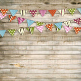 9077 Printed Washed Wood Bunting Flag Backdrop - Backdrop Outlet - 5