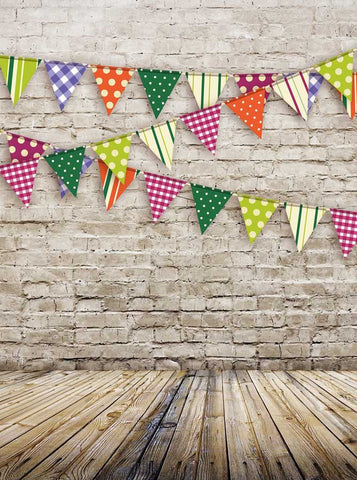 9078 Brick Wall Bunting Backdrop - Backdrop Outlet - 2