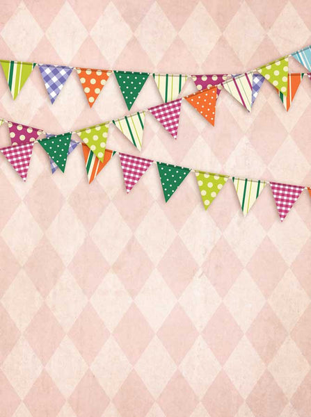 9081 Pink Triangle Bunting Flags Backdrop - Backdrop Outlet - 2