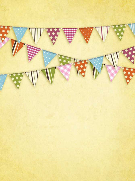 Yellow Bunting Flags Backdrop - 9089 - Backdrop Outlet