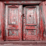 Red Vintage Doors Photography Backdrop - 9138 - Backdrop Outlet