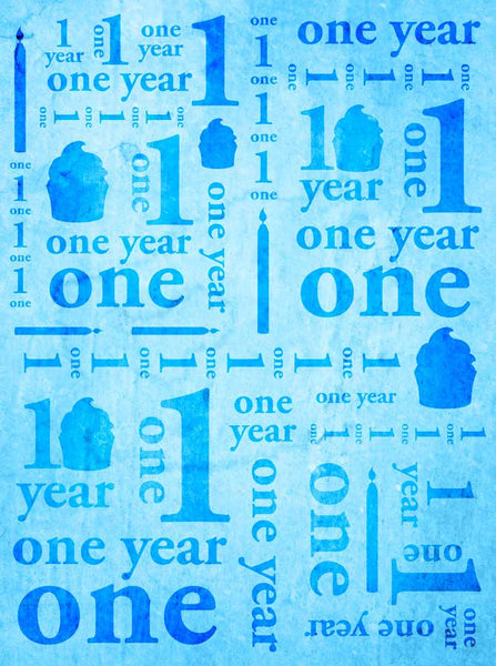 9142 One Year Birthday Blue Backdrop - Backdrop Outlet