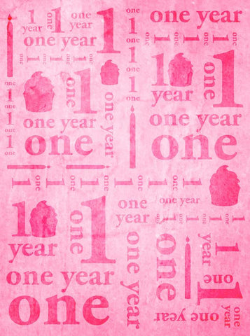 9144 One Year Birthday Pink Backdrop - Backdrop Outlet