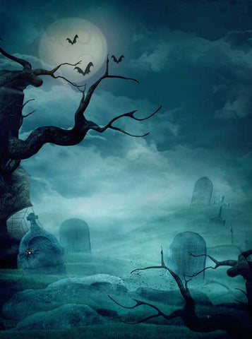 Printed Haunted Spooky Night Backdrop - 9209 - Backdrop Outlet