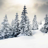 White Christmas Tree Snow Backdrop - 9267 - Backdrop Outlet