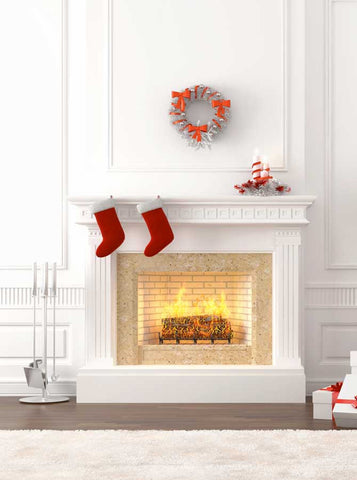 White Fireplace Christmas Printed Photography Backdrop - 9270 - Backdrop Outlet