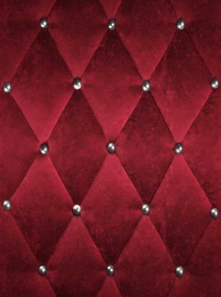 Printed Velvet Maroon Tufted Backdrop - 9302 - Backdrop Outlet
