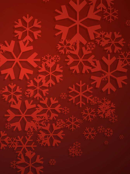9321 Red Christmas Projected Snowflake Backdrop - Backdrop Outlet