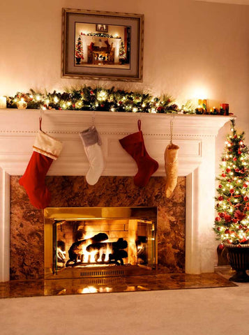 Christmas Mantel Fireplace with Tree Backdrop - 9329 - Backdrop Outlet