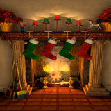 Christmas Stocking Fireplace Illustration Photography Backdrop - 9336 - Backdrop Outlet
