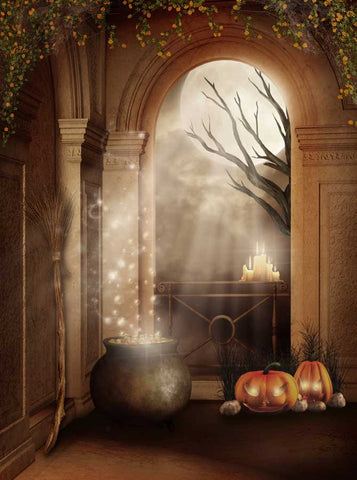 Mystical Archway Pumpkin Printed Backdrop - 9406 - Backdrop Outlet