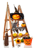 Halloween Props Arranged Pumpkin Broom Photography Backdrop - 9407 - Backdrop Outlet