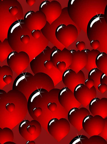 Printed Red Hearts backdrop - 940 - Backdrop Outlet