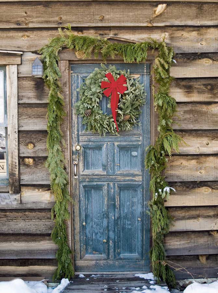 Rustic Christmas Wood Door backdrop - 9436 - Backdrop Outlet