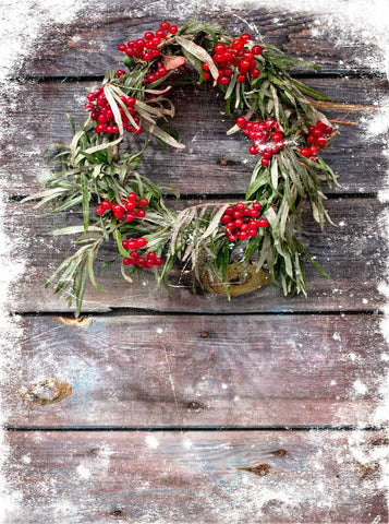 9437 Barn Wood Christmas Wreath Backdrop - Backdrop Outlet