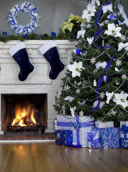 Blue Christmas Tree Backdrop - 9444 - Backdrop Outlet