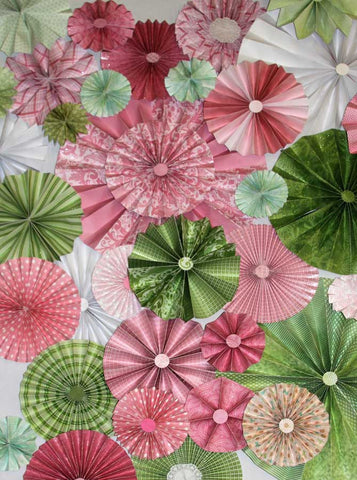 9643 Pinwheel Rosettes Pink White Green Floral Backdrop - Backdrop Outlet