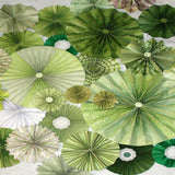 9644 Pinwheel Rosettes Irish Green Mint Sage White Backdrop - Backdrop Outlet
