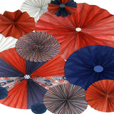 9645 Pinwheel Rosettes Red White Blue Patriotic Backdrop - Backdrop Outlet