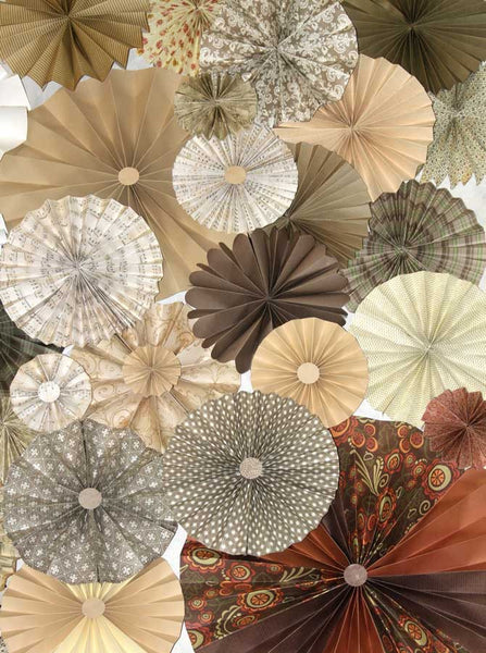 Pinwheel Rosettes Tan Cream Brown Neutral Tones Backdrop - 9648 - Backdrop Outlet