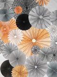 Pinwheel Rosettes Gray Coral Pale Yellow Backdrop - 9652 - Backdrop Outlet