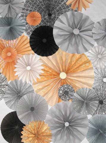 9652 Pinwheel Rosettes Gray Coral Pale Yellow Backdrop - Backdrop Outlet