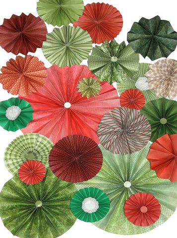 9654 Pinwheel Rosettes Red Green Christmas Holiday Backdrop - Backdrop Outlet