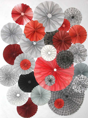 9657 Pinwheel Rosettes Red Gray Black Backdrop - Backdrop Outlet